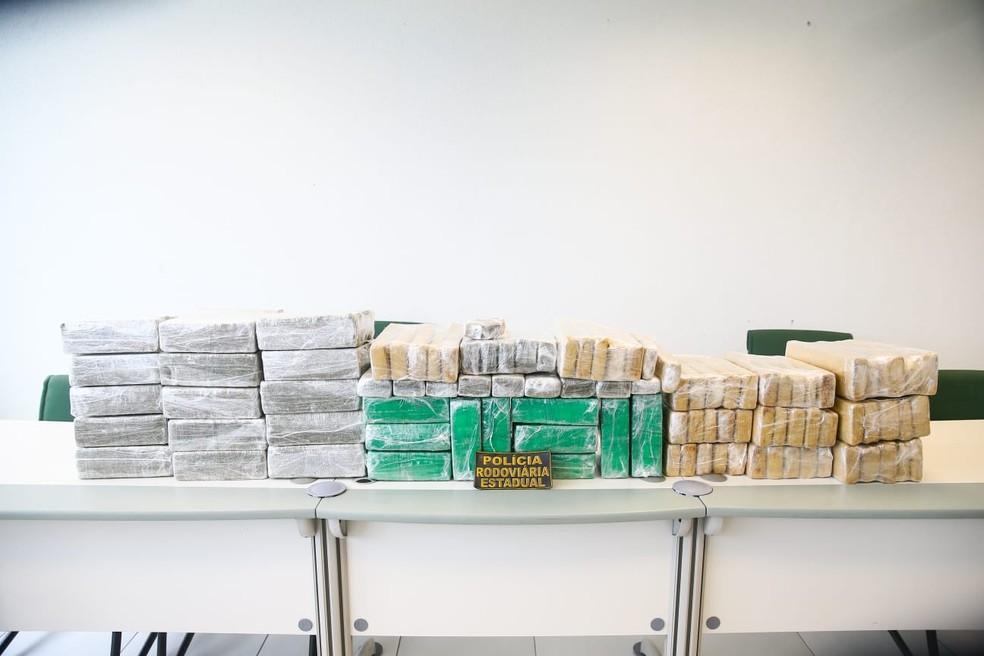 Cerca de 137 kg de maconha foram apreendidos no interior de um carro, em uma vistoria da Polícia Rodoviária do Ceará na BR 060, na Grande Fortaleza. — Foto: Camila Lima / SVM