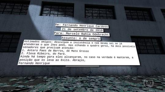 Em mensagens, FH pede doações para a Odebrecht, mostra laudo da PF
