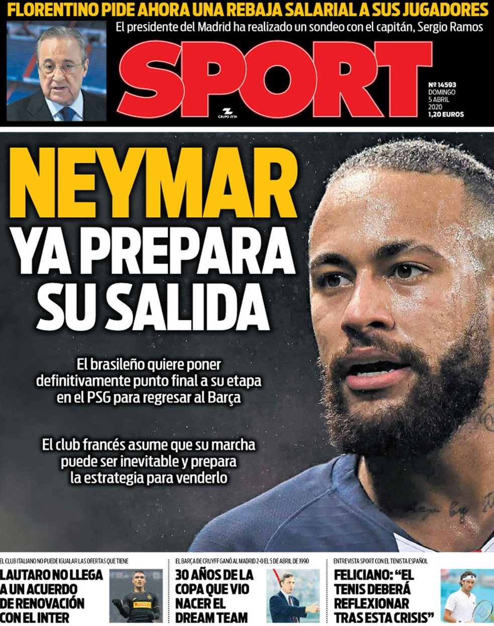 """Neymar é capa do """"Sport"""", que diz que atacante prepara sua saída do PSG — Foto: Reprodução/Sport"""
