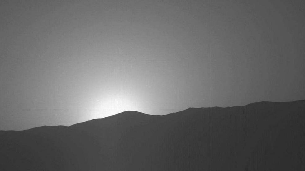 Registro do pôr do sol em Marte foi feito pela sonda Curiosity  (Foto: Nasa)