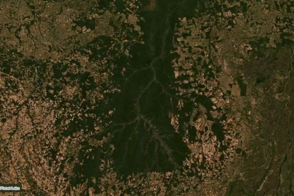 Porção sul da bacia do Xingu, em Mato Grosso, em imagem de satélite de junho; região serve como corredor ecológico e barreira para o avanço do agronegócio na Amazônia — Foto: Planet Labs