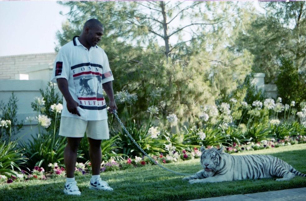 Mike Tyson e seu tigre em foto de 1989 — Foto: The Ring Magazine