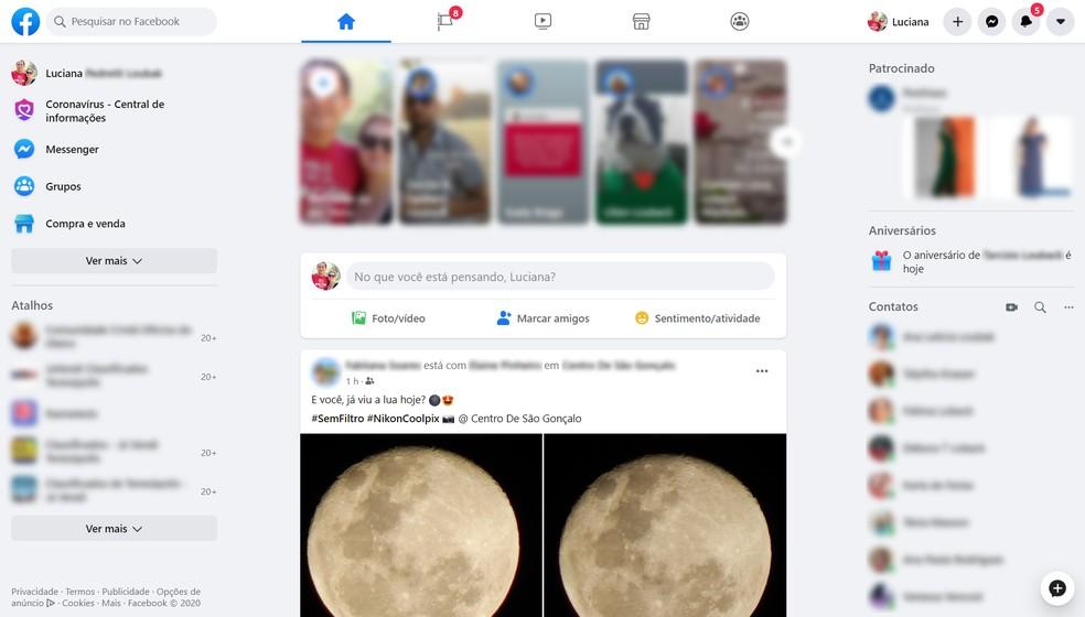 Navegação simplificada: novo Facebook vem com visual mais limpo e textos maiores — Foto: Reprodução/Ana Letícia Loubak