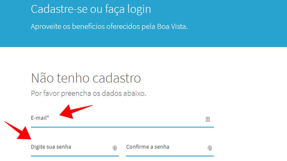 Informe seu e-mail e crie uma senha no Consumidor Positivo da Boa Vista (Foto: Reprodução/Paulo Alves)
