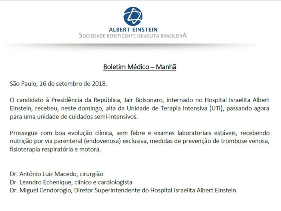 Boletim médico deste domingo informa que Bolsonaro recebeu alta da UTI — Foto: Reprodução/Hospital Albert Einstein