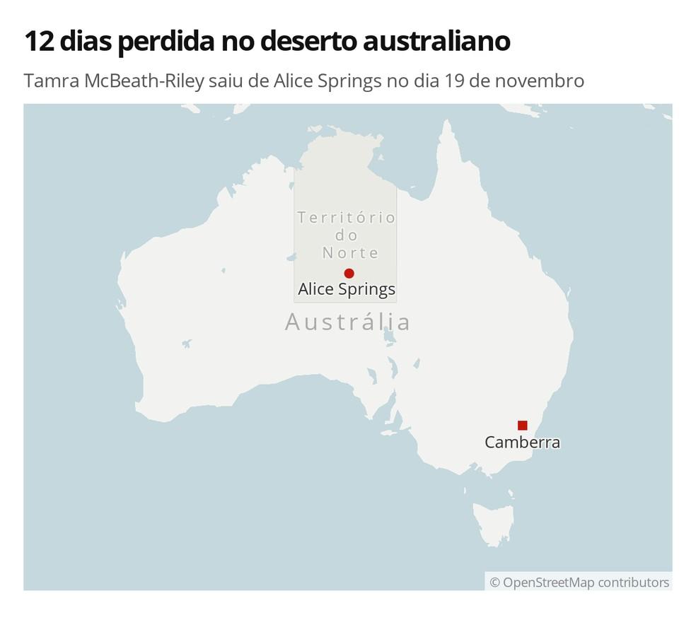 Tamra McBeath-Riley saiu de Alice Springs no dia 19 de novembro — Foto: G1