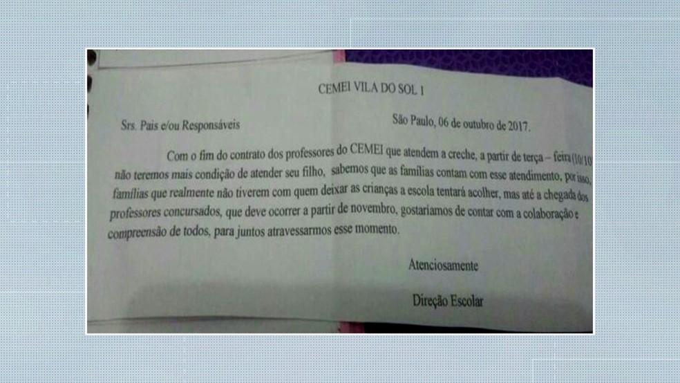 Bilhete enviado aos pais (Foto: Reprodução/TV Globo)