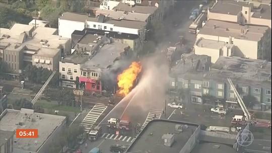 Explosão de gás provoca grande incêndio em cidade dos EUA