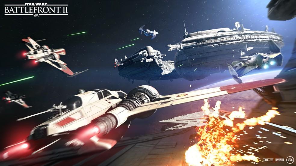 -  Batalhas espaciais retornam com tudo em  Star Wars Battlefront II   Foto: Divulgação
