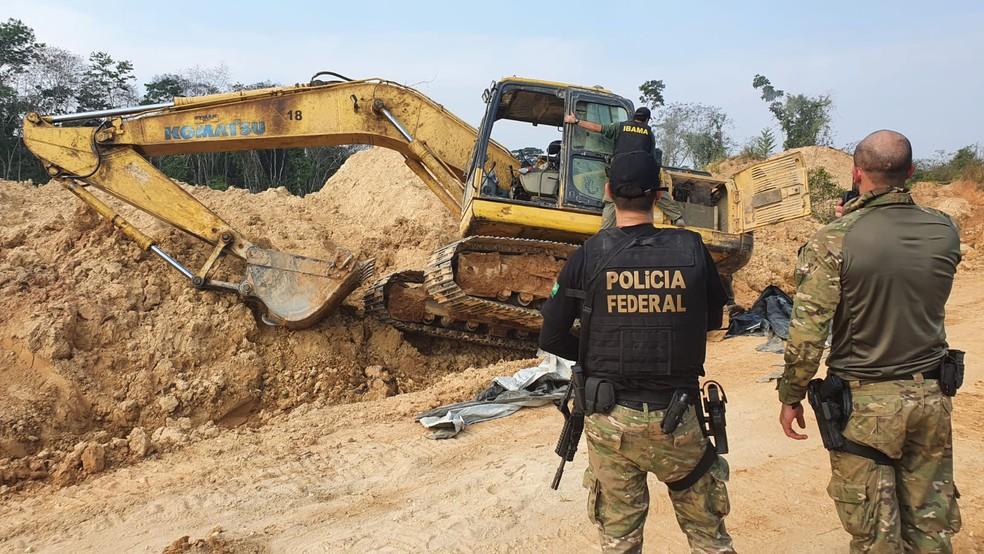 PF deflagra operação para combater garimpos ilegais em terra indígenas em MT — Foto: PF/MT