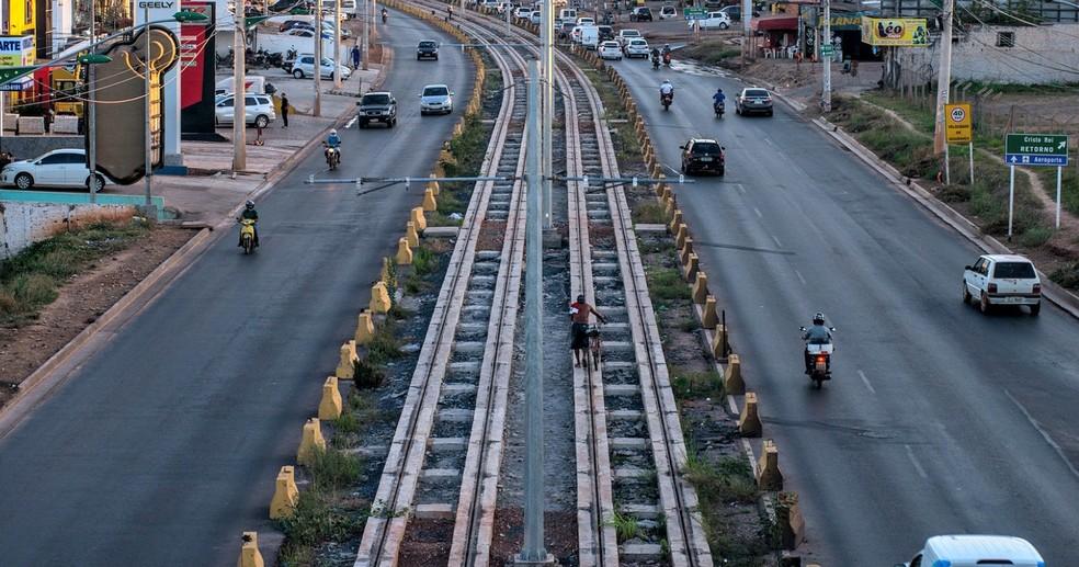 VLT de Cuiabá tem só 6 km de trilhos construídos, do total de 22 km — Foto: Gcom-MT