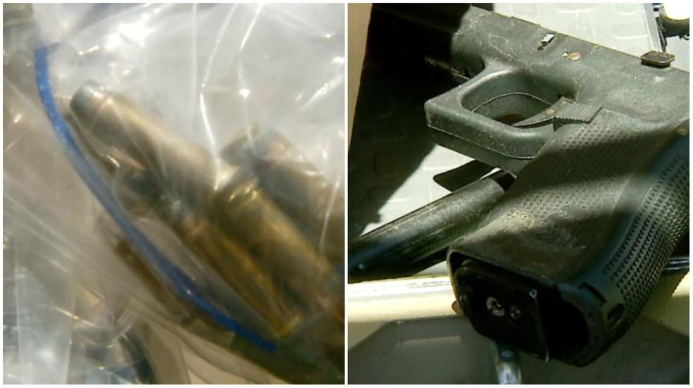 Arma e munições apreendidas durante operação da corregedoria em São Carlos nesta terça (Foto: Reprodução/ EPTV)