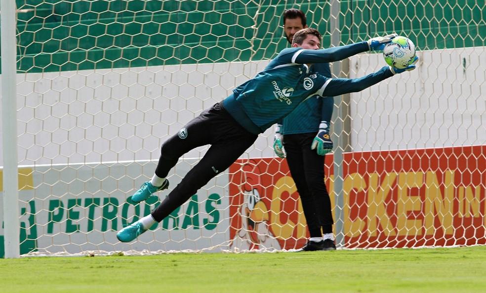 Tadeu durante treino do Verdão — Foto: Rosiron Rodrigues/Goiás E.C.