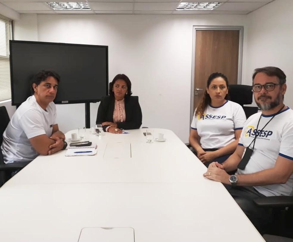 Secretária de Segurança, Sheila Freitas se reuniu nesta manhã com o Sindicato da Polícia Civil (Sinpol-RN) e Associação dos Escrivães (Assesp)  — Foto: Sinpol-RN
