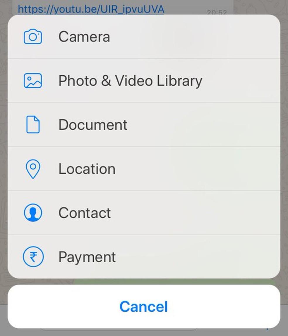 Novo recurso de pagamento fica no mesmo menu de compartilhamento do WhatsApp (Foto: Reprodução/ Twitter)