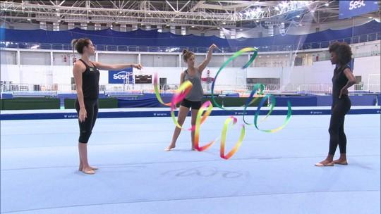 Atrizes de Malhação fazem laboratório de ginástica com a atleta olímpica Natalia Gaudio