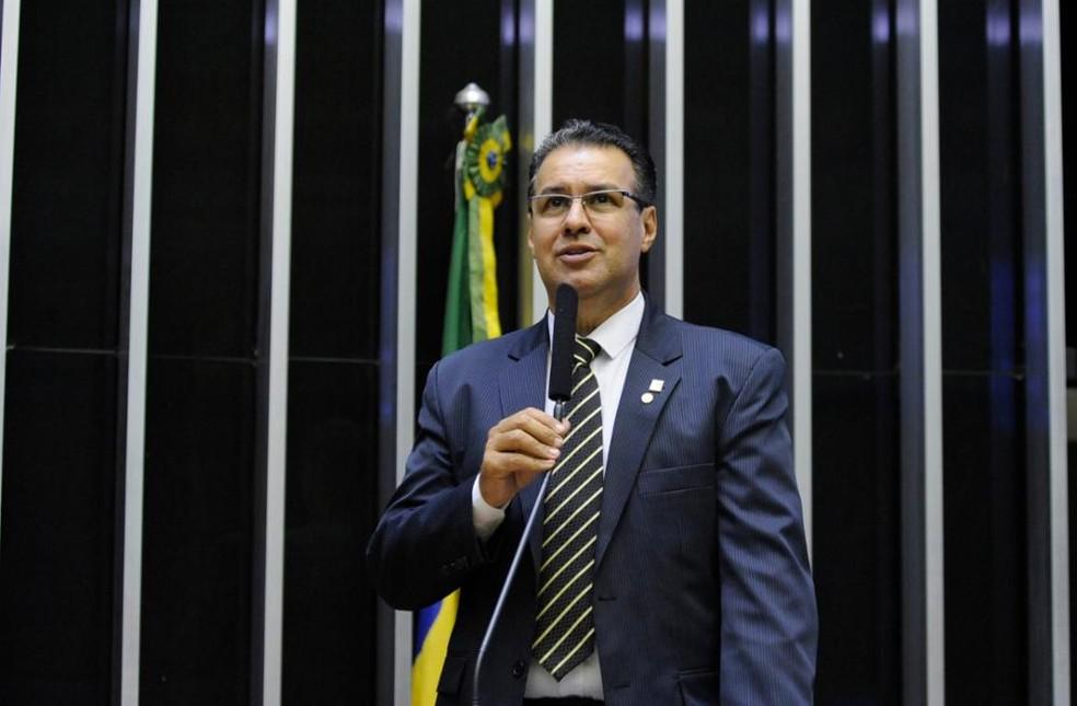 O deputado federal Capitão Augusto (PR-SP) em discurso na Câmara em 2018 — Foto: Luis Macedo/Câmara dos Deputados