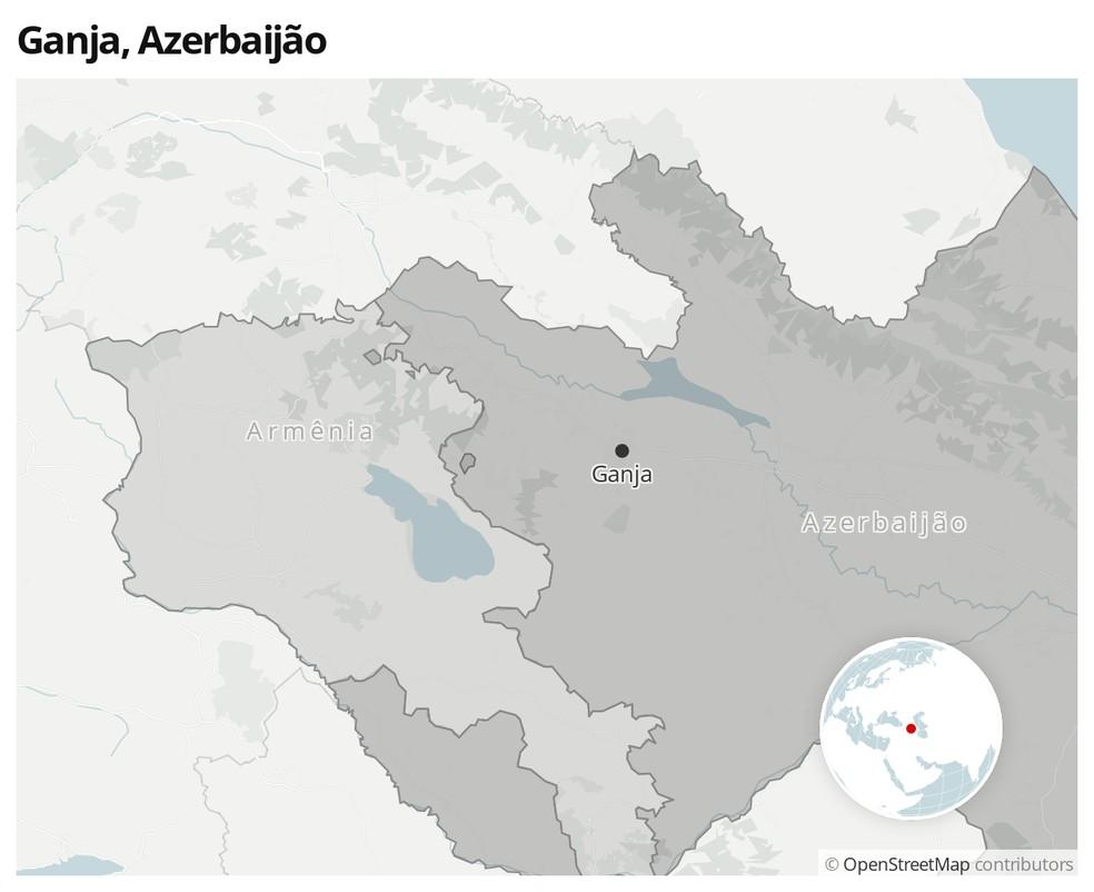 Mapa mostra a localização da cidade de Ganja, no Azerbaijão — Foto:  G1