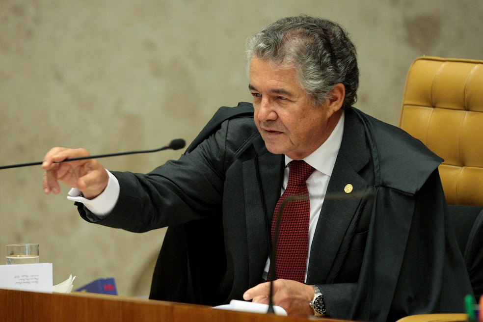O ministro Marco Aurélio Mello em julgamento no plenário do STF — Foto: Carlos Moura/STF