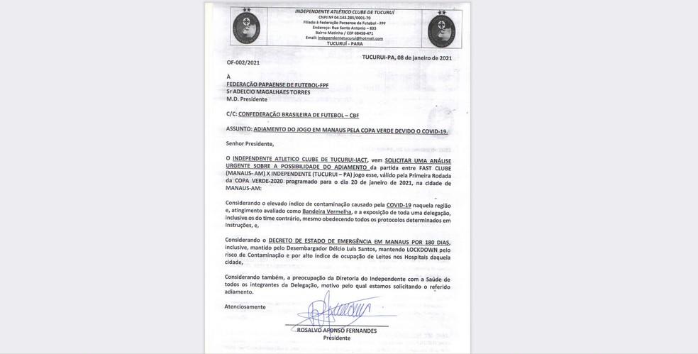 Independente-PA solicita adiamento de partida contra o Fast pela Copa Verde — Foto: Divulgação