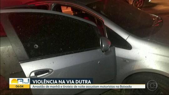 Bandidos fizeram arrastão na Rodovia Presidente Dutra neste domingo (16)
