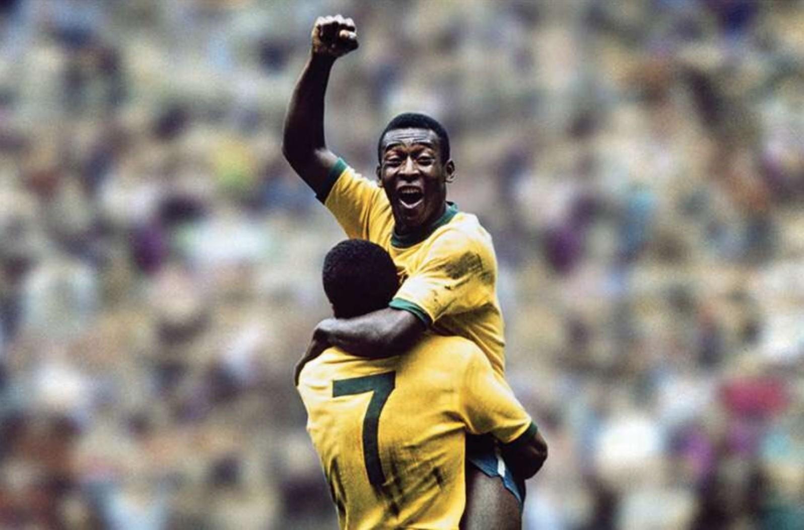 Pelé e Jairzinho na famosa foto da Copa de 1970