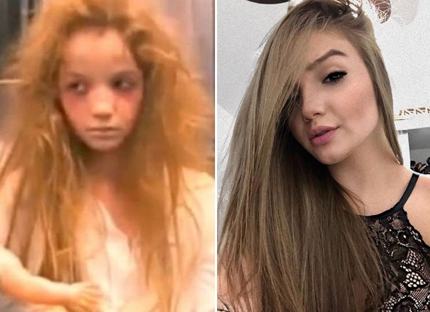 Antes e depois: Anna Livya como a Menina Fantasma e o visual atual (Foto: Reprodução)