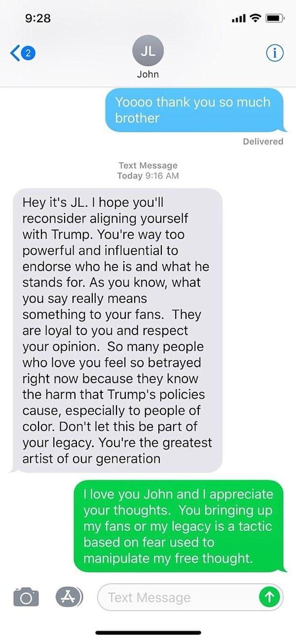 A primeira leva da troca de mensagens entre John Legend e Kanye West sobre Donald Trump (Foto: Twitter)