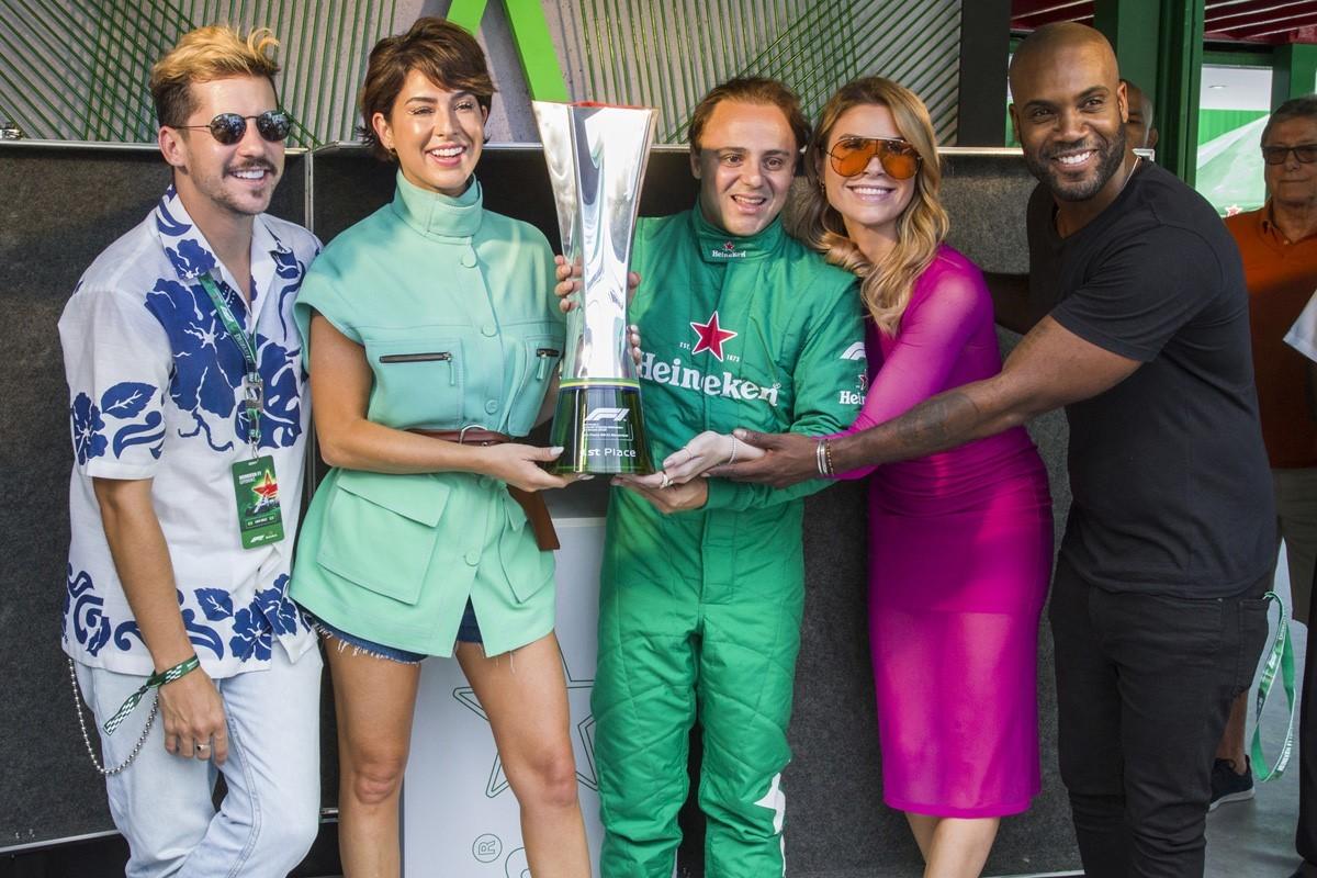 Caio Braz, Fernanda Paes Leme, Felipe Massa, Julia Faria e Rafael Zulu  (Foto: Carlos Miller)