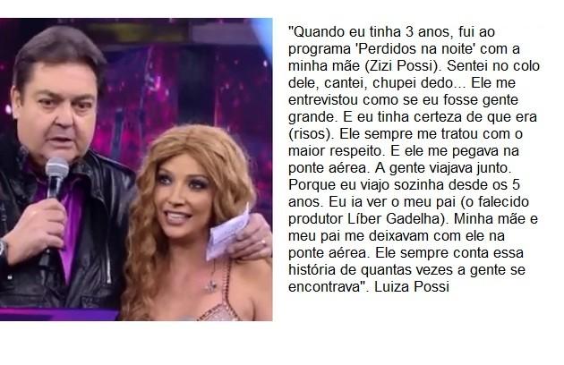 Luiza Possi, que já participou do 'Show dos famosos', conta que Faustão a buscava na ponte aérea (Foto: Reprodução)