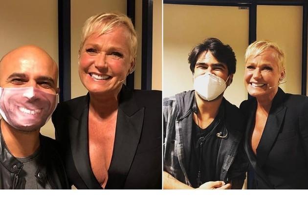 Xuxa foi tietada até pelos integrantes da banda do 'Lady night'. No programa, eles usarão máscaras customizadas com caricaturas (Foto: Reprodução/Multishow)