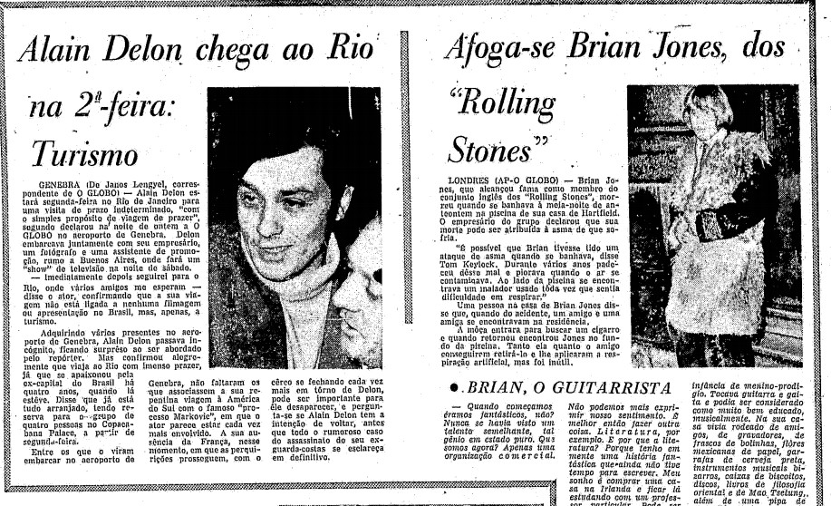 Notícia sobre morte de Jones, ao lado de matéria anunciando visita do ator Alain Delon ao Rio