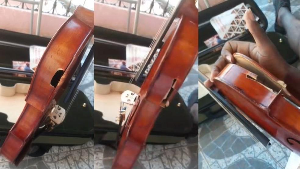Instrumento ficou completamente danificado e precisará passar por manutenção — Foto: Arquivo pessoal