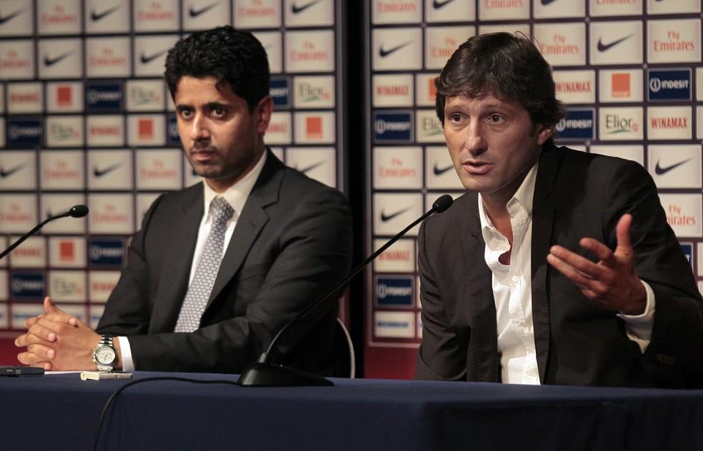 Nasser Al Khelaifi chamou Leonardo para comandar o futebol do PSG — Foto: AFP