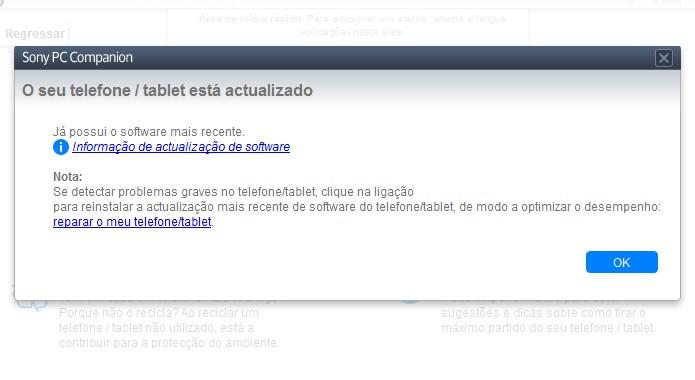 Como via smartphone, o software mostra que ainda não há atualização disponível para a quinta versão do Android (Foto: Reprodução/Bruno Quevedo)