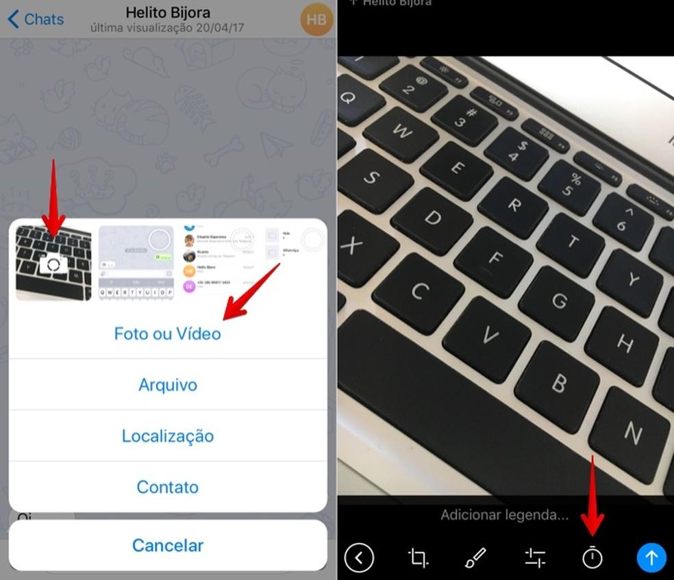 Selecione a foto ou vídeo no Telegram (Foto: Reprodução/Helito Bijora)