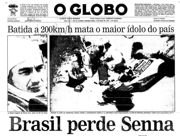 Primeira página do GLOBO de 2 de maio de 1994
