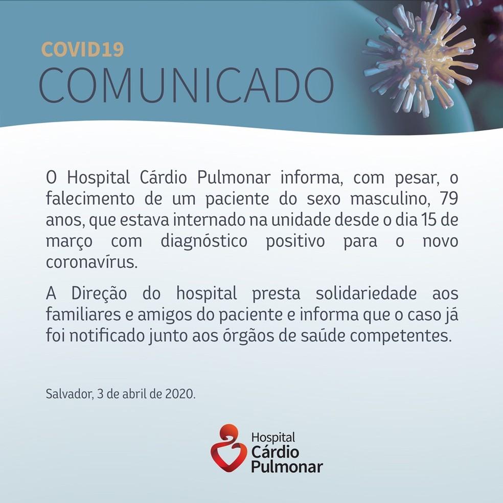 Quarta morte por coronavírus na Bahia ocorre no Hospital Cárdio Pulmonar — Foto: Divulgação
