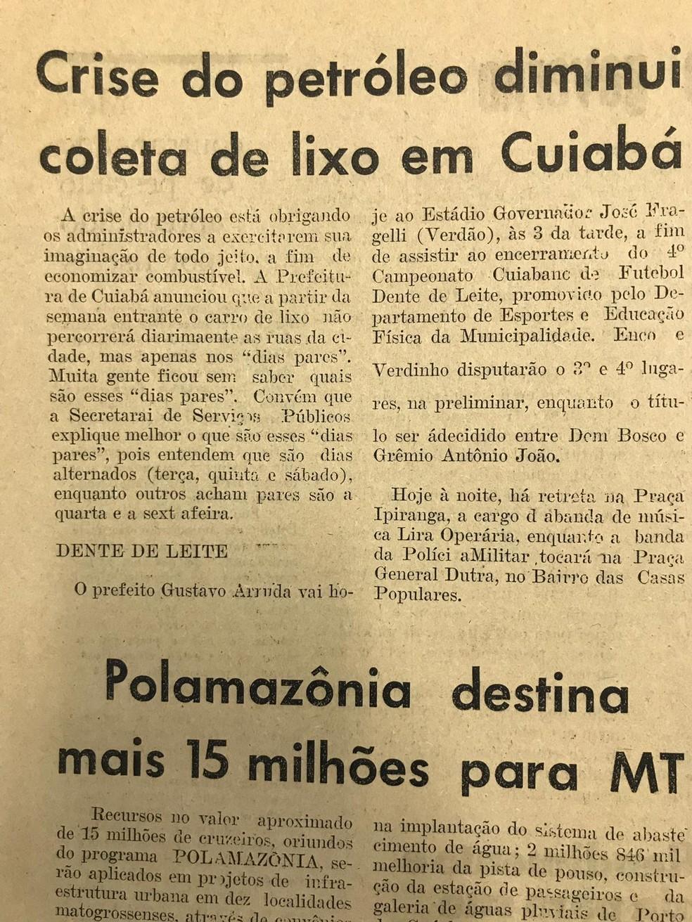 Crise do petróleo também foi notícia em Cuiabá — Foto: Arquivo Público/Reprodução