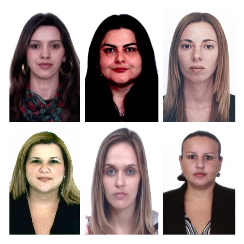 Da esquerda para a direita, de cima para baixo, as advogadas Ariane Factur dos Santos, Gisele Aparecida Baldiotti, Jéssica Paixão Ferreira, Juliana Claudina dos Santos Cottini, Priscila Ambiel Julian e Vanila Gonçales (Foto: Reprodução/OAB)