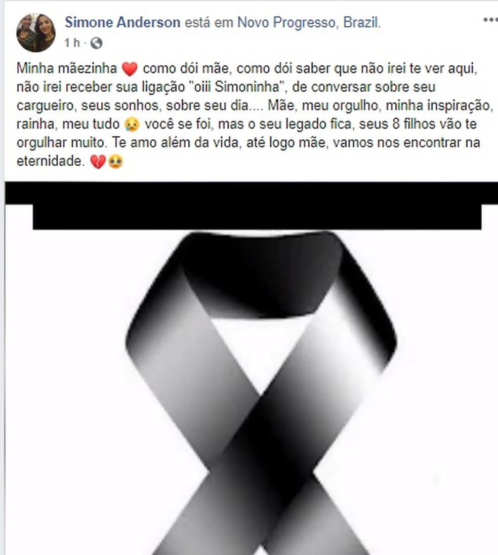 Filha postou uma mensagem lamentando a morte da mãe — Foto: Facebook/Reprodução