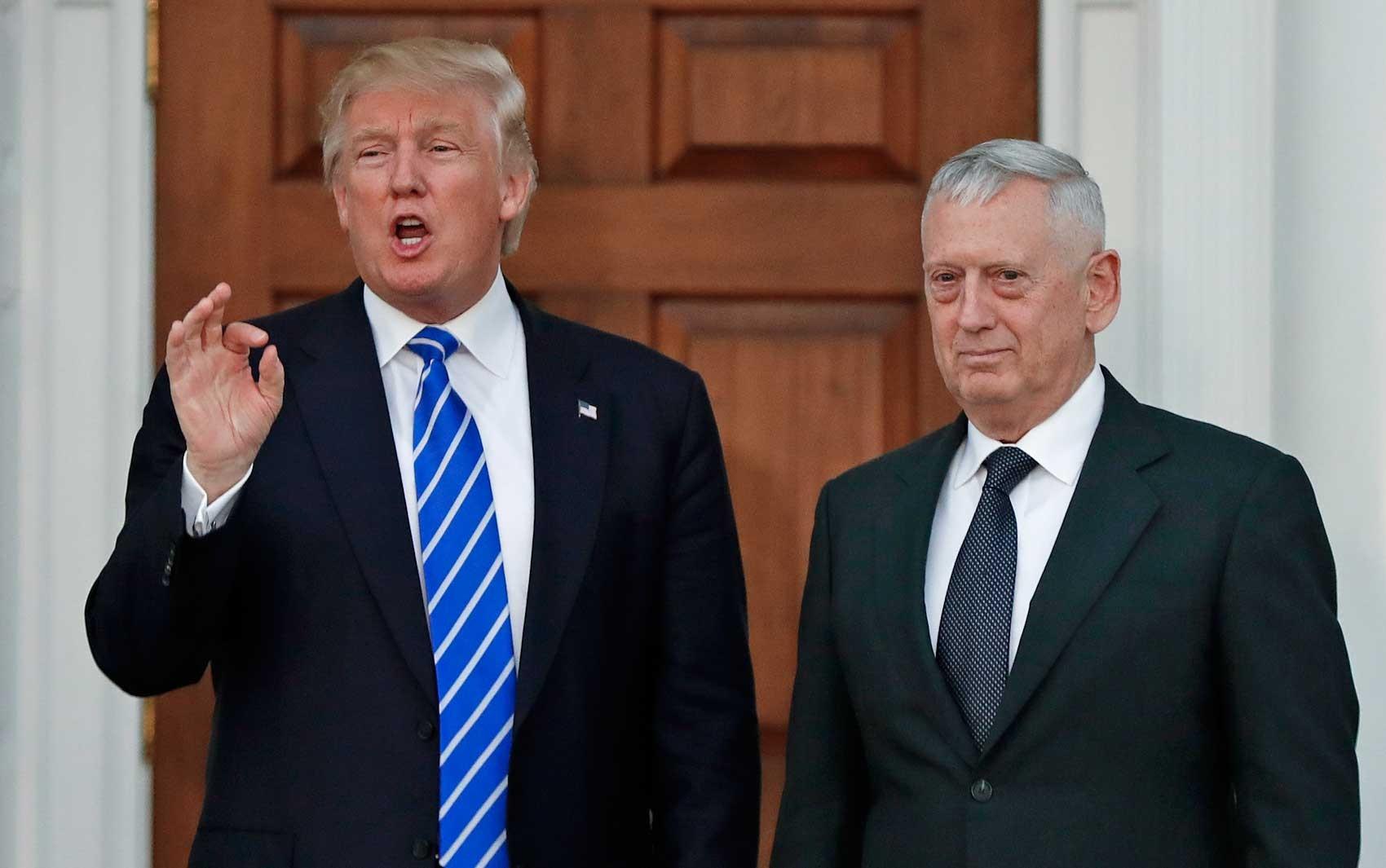 Trump diz que general Mattis 'pode' deixar de ser secretário da Defesa dos EUA