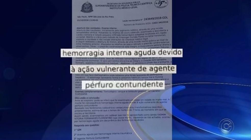 Laudo apontou que morte de adolescente foi provocada por hemorragia em Rio Preto (SP) — Foto: Reprodução/TV TEM