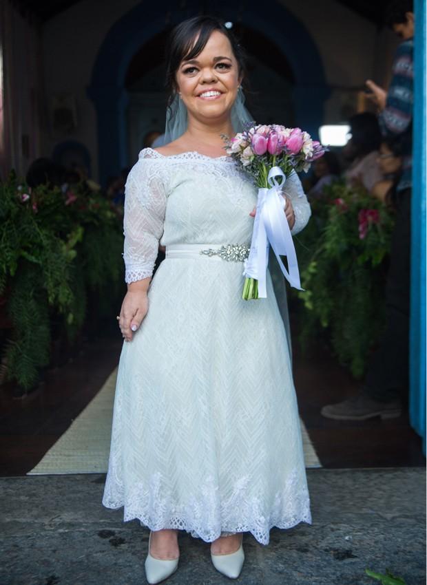 Juliana Caldas como noiva em 'O Outro Lado do Paraíso' (Foto: Divulgação/TV Globo)