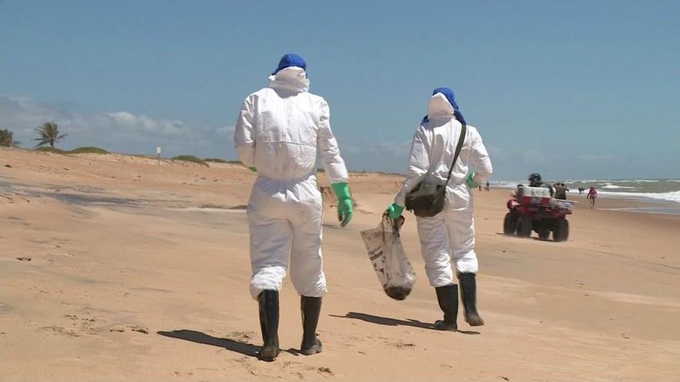 Militares do Exército limparam a Praia de Pontal do Ipiranga neste domingo (10) — Foto: Reprodução/ TV Gazeta