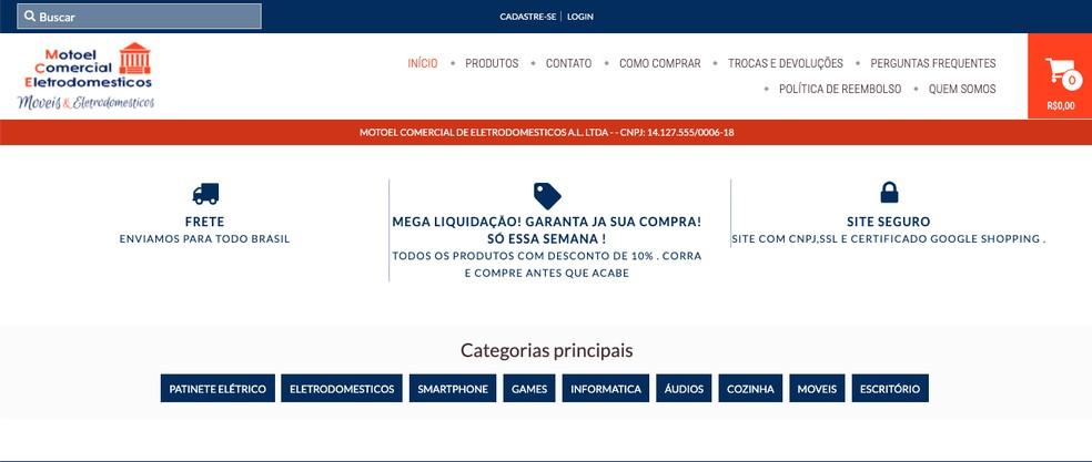 Interface da página inicial da loja Motoel — Foto: Reprodução/Aline Batista