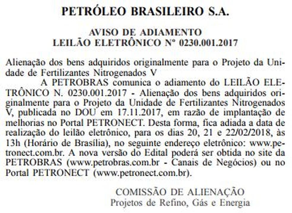 Nova data para leilão da Planta de Amônia foi publicada pela Comissãod de Alienação da Petrobras (Foto: Reprodução/Diário Oficial da União)