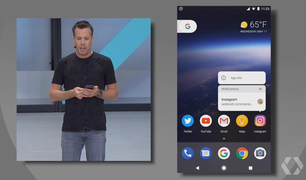 Ícones de apps terão notificações no Android O (Foto: Reprodução/YouTube)