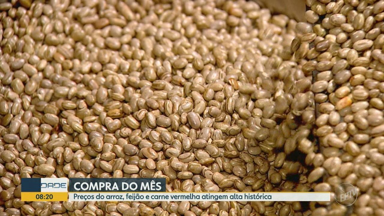 'Compra do Mês': preços do arroz, feijão e carne vermelha atingem alta histórica