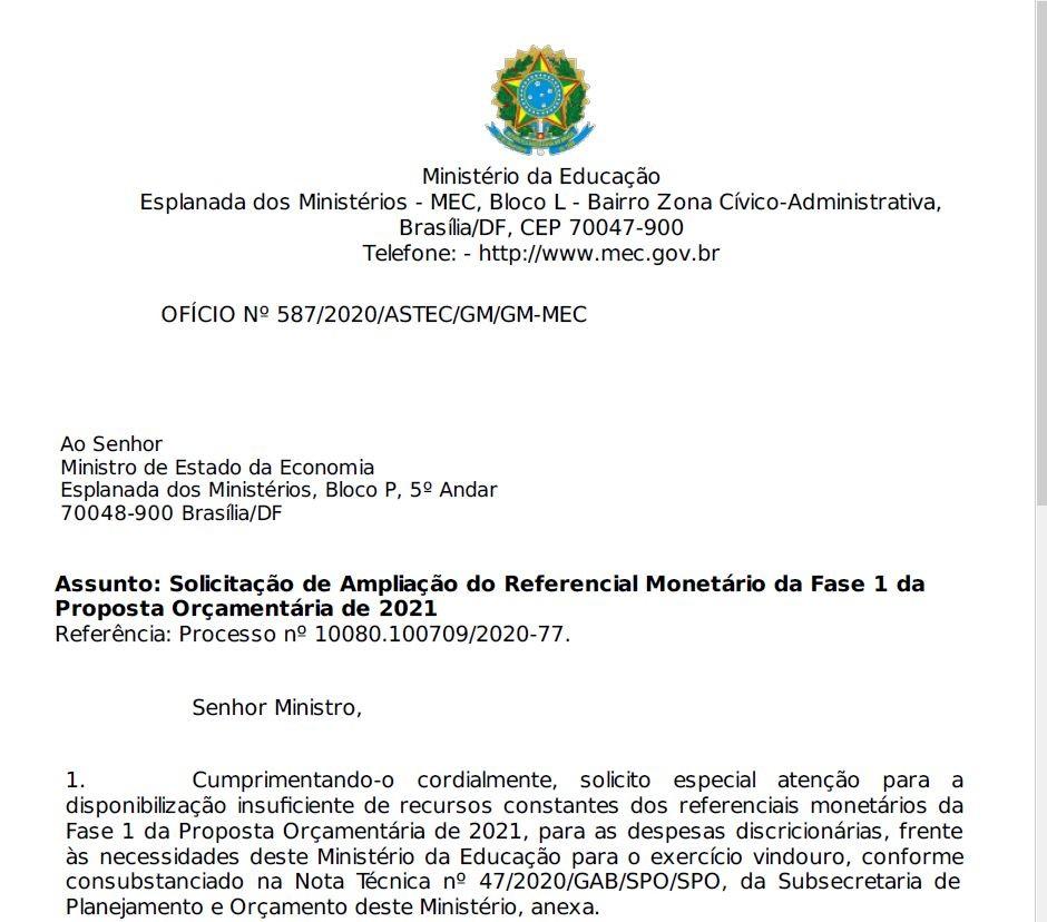 MEC alerta em ofício que Enem 2021 pode ser suspenso por falta de recursos